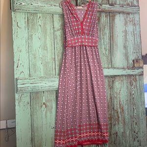 Max studio maxi dress size xl red and navy. Euc
